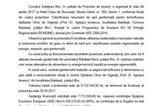 """Spitalul """"«Prof. Dr. Agrippa Ionescu"""" din Balotești folosește apă geotermală!"""
