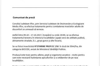 Consiliul Județean Ilfov anunță dezinsecție